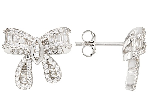 Photo of Bella Luce®1.86ctw White Diamond Simulant Rhodium Over Sterling Silver Bow Earrings (1.01ctw DEW)