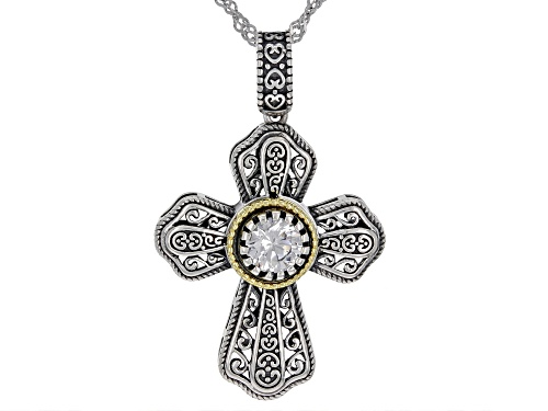 Photo of Bella Luce ® 0.84ctw Rhodium Over Sterling Silver Cross Pendant With Chain (0.46ctw DEW)