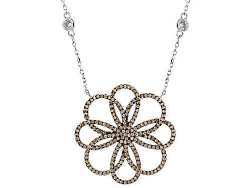 Photo of Bella Luce ® 3.15ctw Champagne And White Diamond Simulants Rhodium Over Silver Flower Necklace - Size 18