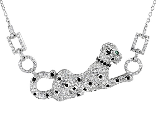 Photo of Bella Luce® 3.07ctw Emerald, White, And Black Diamond Simulants Rhodium Over Silver Panther Necklace - Size 18