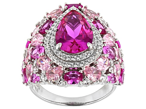 Photo of Bella Luce ® 15.81ctw Pink Sapphire And Pink And White Diamond Simulants Rhodium Over Silver Ring - Size 8