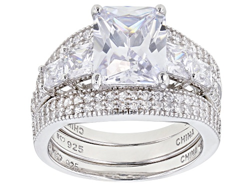 Photo of Bella Luce ® 9.07ctw White Diamond Simulant Rhodium Over Silver Ring With 2 Bands (5.59ctw DEW) - Size 8