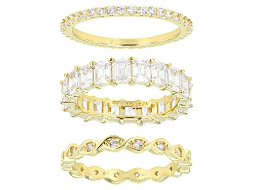 Photo of Bella Luce ® 7.59ctw White Diamond Simulant Eterno™ Yellow Band Rings - Set of 3 (4.74ctw DEW) - Size 6