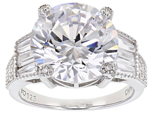 Photo of Bella Luce® 15.16ctw White Diamond Simulant Rhodium Over Sterling Silver Ring (9.35ctw DEW) - Size 6