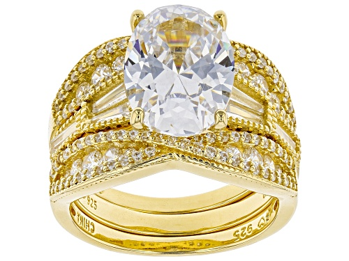 Photo of Bella Luce ® 10.89ctw White Diamond Simulant Eterno™ Yellow Ring With 2 Bands (5.44ctw DEW) - Size 12