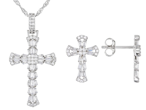 Photo of Bella Luce ® 2.86ctw Rhodium Over Silver Cross Pendant With Chain And Earrings (0.74ctw DEW)