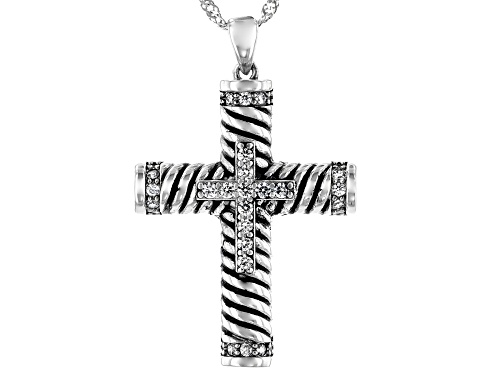 Photo of Bella Luce® 0.85ctw Rhodium Over Sterling Silver Cross Pendant With Chain (0.46ctw DEW)