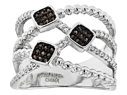 Photo of Bella Luce ® 0.69ctw Mocha And White Diamond Simulants Rhodium Over Silver Ring (0.39ctw DEW) - Size 8