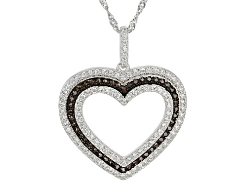 Photo of Bella Luce ® 1.37ctw Mocha And White Diamond Simulants Rhodium Over Silver Heart Pendant With Chain
