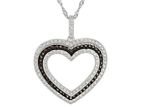 Photo of Bella Luce ® 1.37ctw Mocha And White Diamond Simulants Rhodium Over Silver Heart Pendant With Chain