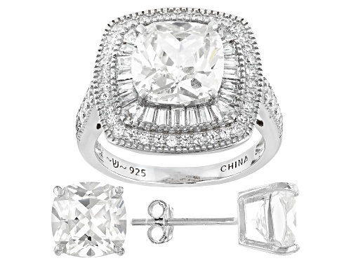 Photo of Bella Luce ® 12.47ctw Rhodium Over Sterling Silver Ring And Earrings (7.41ctw DEW)