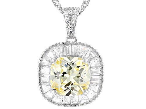 Photo of Bella Luce ® 6.39ctw Canary And White Diamond Simulants Rhodium Over Silver Pendant With Chain