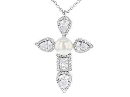 Photo of Bella Luce® White Cultured Freshwater Pearl And Diamond Simulants Rhodium Over Silver Necklace