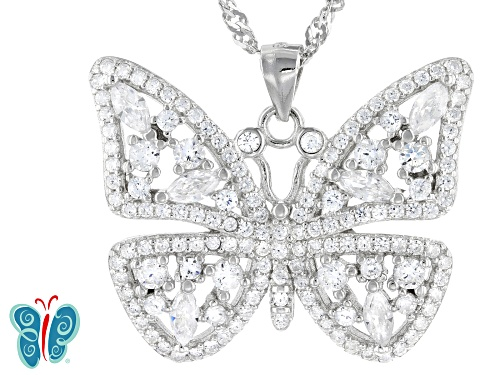 Photo of Bella Luce ® 2.16ctw Rhodium Over Sterling Silver Butterfly Pendant With Chain (1.06ctw DEW)