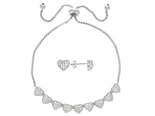 Photo of Bella Luce® 0.94ctw Rhodium Over Sterling Silver Heart Adjustable Bracelet and Stud Earrings Set