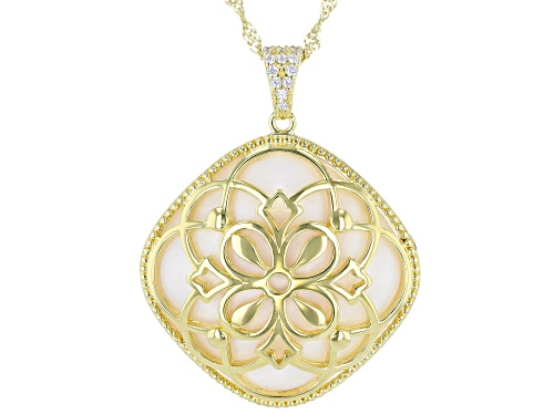 Photo of Bella Luce ® 19.01ctw Mother Of Pearl And White Diamond Simulant Eterno™ Yellow Pendant With Chain