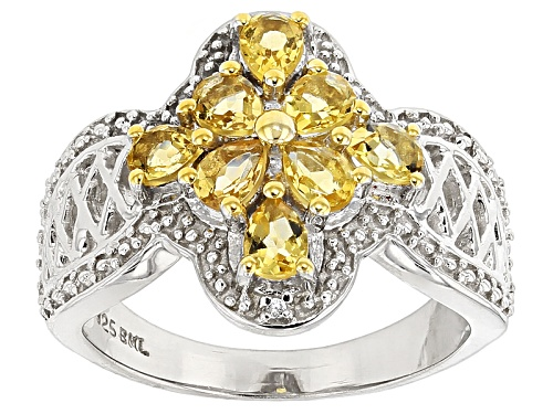 Photo of .94ctw Pear Shape Yellow Beryl With .01ctw Round White Zircon Sterling Silver Ring - Size 7