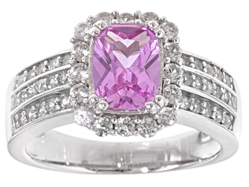 Photo of 1.27ct Rectangular Cushion Lab Created Pink Sapphire With .70ctw White Zircon Sterling Silver Ring - Size 12