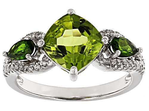 Photo of 2.32ct Manchurian Peridot™With .40ctw Russian Chrome Diopside And .22ctw White Zircon Silver Ring - Size 12