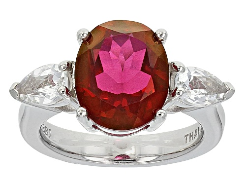 Photo of 3.40ct Oval Peony™ Mystic Topaz® With .91ctw Pear Shape White Topaz Sterling Silver Ring - Size 12