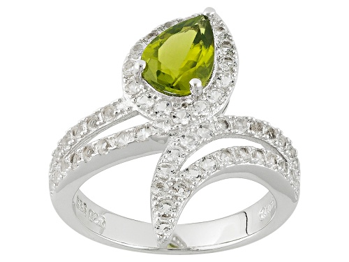 Photo of .93ct Pear Shape Peridot With .89ctw Round White Topaz Sterling Silver Bypass Ring - Size 8