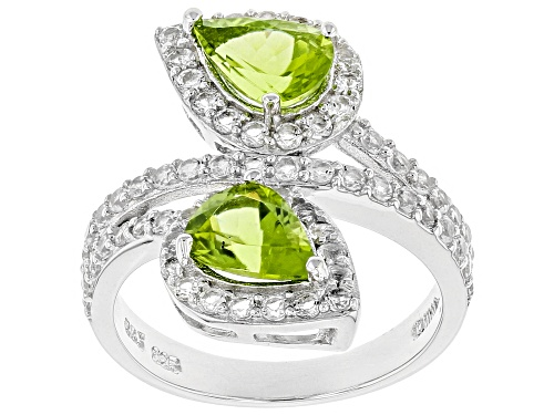 Photo of 1.87ctw Pear Shape Peridot Wtih 1.06ctw Round White Topaz Sterling Silver Bypass Ring - Size 8