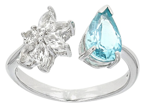 Photo of .95ct Pear Shape Pariba Color Apatite With .49ctw White Topaz Sterling Silver Ring - Size 8