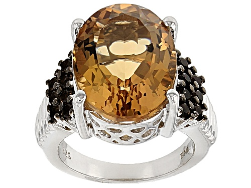 Photo of 9.50ct Oval Champagne Quartz With .42ctw Round Smoky Quartz Sterling Silver Ring - Size 6