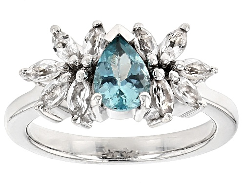 Photo of .68ct Pear Shape Paraiba Blue Apatite With .90ctw White Topaz Sterling Silver Ring - Size 8