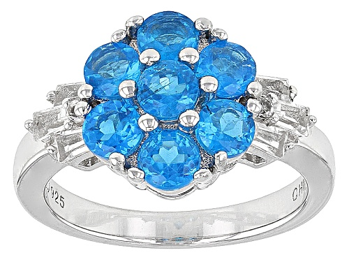 Photo of 1.66ctw Round Neon Blue Apatite With .64ctw Baguette And Round White Topaz Sterling Silver Ring - Size 9