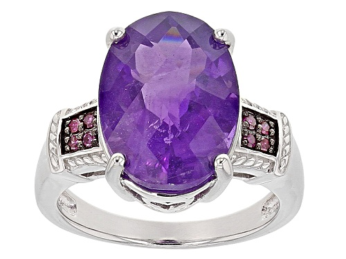 Photo of GEMSTV® 5.95ct Oval African Amethyst With .06ctw Round Purple Diamond Accents Sterling Silver Ring - Size 8