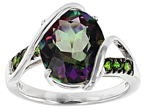 Photo of 5.24ct Oval Multicolor Green Topaz With .19ctw Russian Chrome Diopside Sterling Silver Ring - Size 6