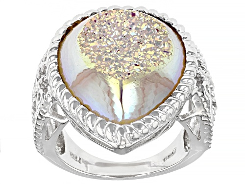 Photo of 22x16mm Pear Shape White Drusy Quartz Rhodium Over Sterling Silver Ring - Size 7