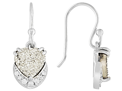 Photo of 8mm Heart Shape Silver Color Drusy Quartz And .18ctw White Zircon Sterling Silver Dangle Earrings