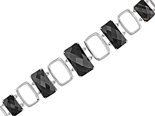 Photo of 11x7mm-17x10mm Graduated Rectangular Octagonal, Checkerboard Cut Black Onyx Silver Bracelet - Size 8