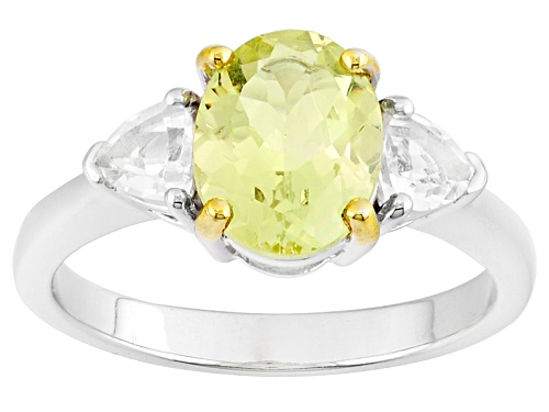 Photo of 1.67ct Oval Mexican Yellow Apatite And .51ctw Trillion White Topaz Sterling Silver Ring - Size 11