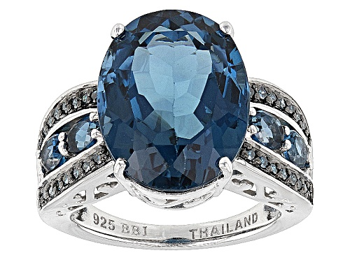 Photo of 11.27ctw Oval London Blue Topaz With .15ctw Round Blue Diamond Sterling Silver Ring - Size 5