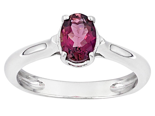 Photo of .59ct Oval Rubellite Tourmaline Sterling Silver Solitaire Ring - Size 9