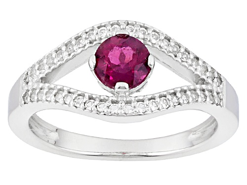 Photo of .38ct Round Rubellite Tourmaline With .13ctw Round White Topaz Sterling Silver Ring - Size 11