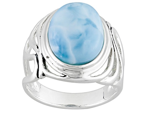 Photo of 14x10mm Oval Cabochon Larimar Sterling Silver Solitaire Ring - Size 5
