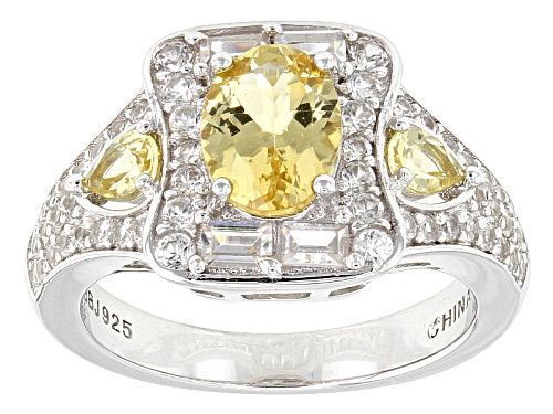 Photo of 1.32ctw Oval And Pear Shape Yellow Apatite With 1.32ctw Round And Baguette White Zircon Silver Ring - Size 11