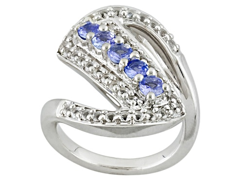 Photo of .60ctw Round Tanzanite With .72ctw Round White Topaz Sterling Silver Ring - Size 5