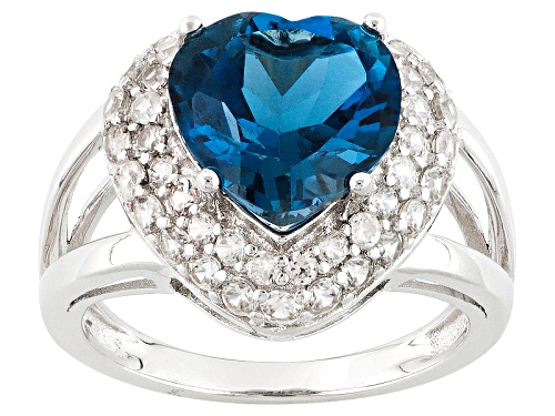 Photo of 3.83ct Heart Shape London Blue Topaz With .94ctw Round White Zircon Sterling Silver Ring - Size 10