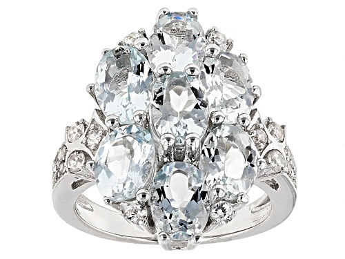 Photo of 4.90ctw Oval Aquamarine And .50ctw Round White Zircon Sterling Silver Ring - Size 6