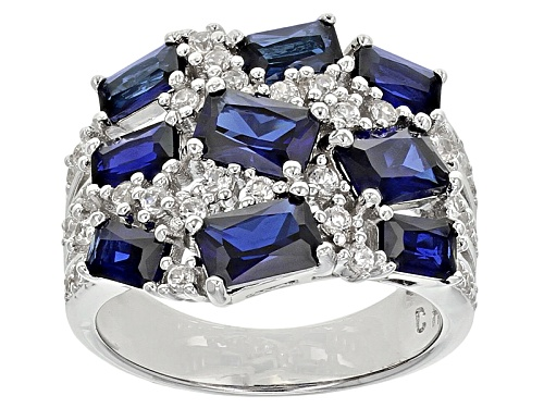 Photo of 3.57ctw Emerald Cut Lab Created Blue Sapphire With .79ctw Round White Zircon Silver Ring - Size 5