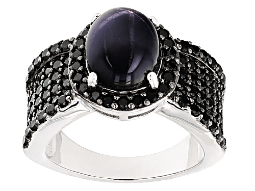 Photo of 3.83ct 10x8mm Oval Cabochon Blue Star Sapphire With 1.67ctw Round Black Spinel Sterling Silver Ring - Size 5
