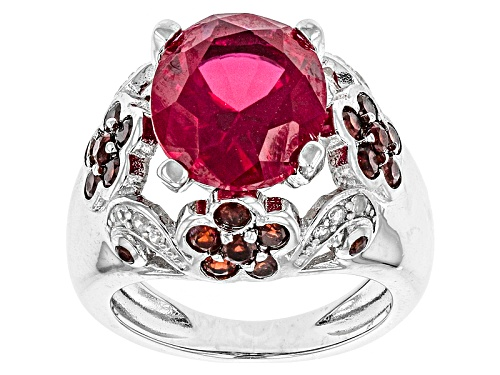 Photo of 5.25ct Oval Lab Created Ruby,1.00ctw Vermelho Garnet™, .08ctw White Ziron Sterling Silver Ring - Size 11