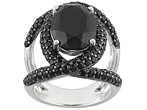 Photo of 7.31ctw Oval And Round Black Spinel Sterling Silver Ring - Size 5