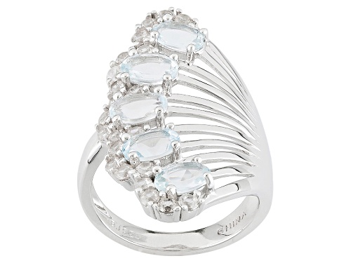Photo of 2.00ctw Oval Aquamarine And 1.10ctw Round White Zircon Sterling Silver Ring - Size 5