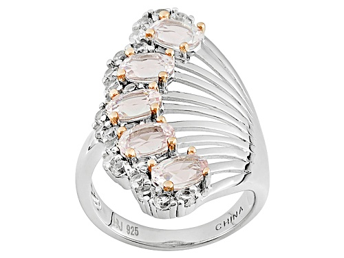 Photo of 1.57ctw Oval Morganite And 1.10ctw Round White Zircon Sterling Silver Ring - Size 5
